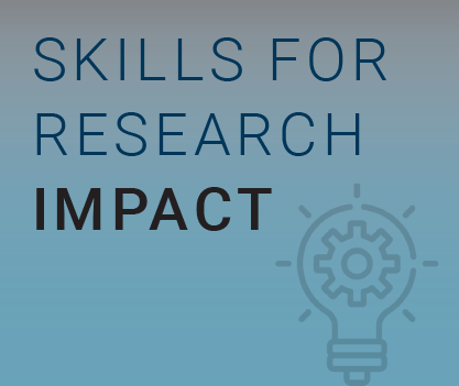 "Image reading ""Skills for Research Impact"" on a blue background with a lightbulb icon"