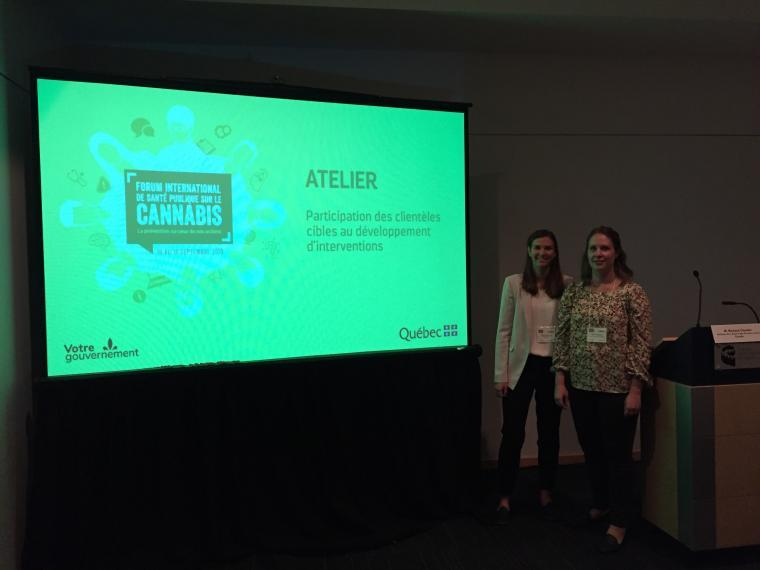 Karen Nelson and Kyley Alderson at the International Public Health Forum on Cannabis