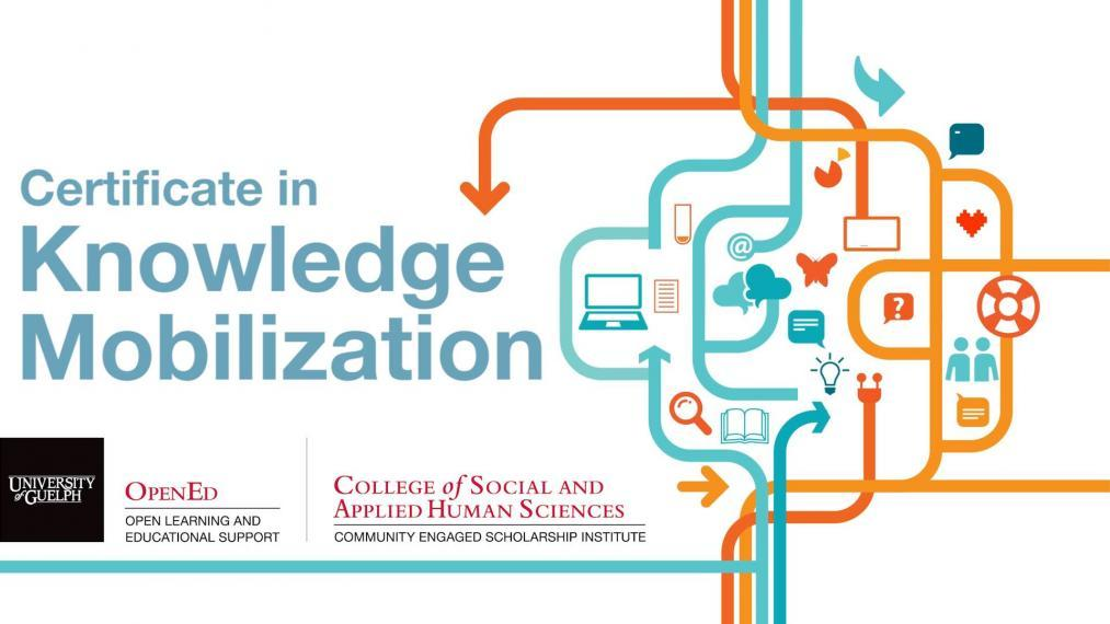 Postcard advertising the Certificate in Knowledge Mobilization. We see lines and arrows intersecting and pointing in different directions, and the logos of Open Ed and the Community Engaged Scholarship Institute at the University of Guelph.