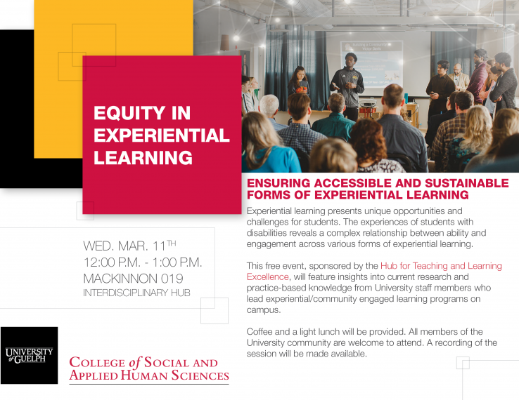 """An image of a circle of university students beside the words, """"Equity in experiential learning"""""""