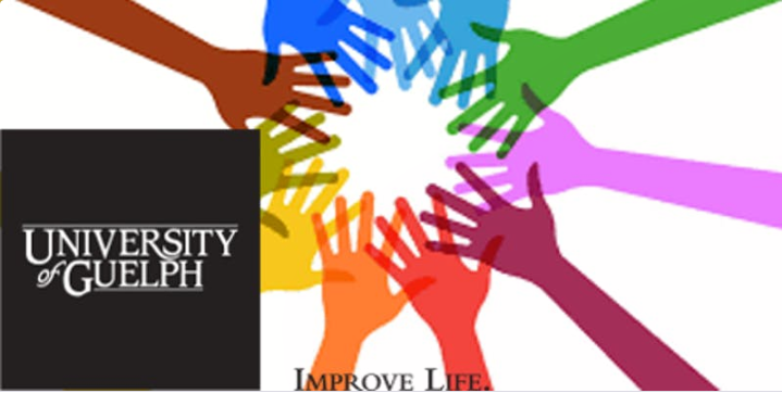 Image showing 11 hands of different colours joining in a circle. The University of Guelph logo is overlay on top of it.