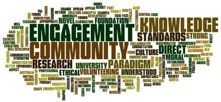 Word cloud of concepts related to community engagement, knowledge and university partnerships.