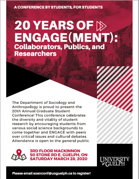 "Event poster for the ENGAGE conference, with the headline ""20 years of Engage(ment): Collaborators, Publics, and Researchers"""