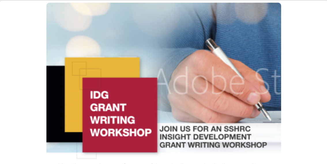 """An image of a hand writing with a pen beside the words, """"IDG Grant Writing Workshop."""""""