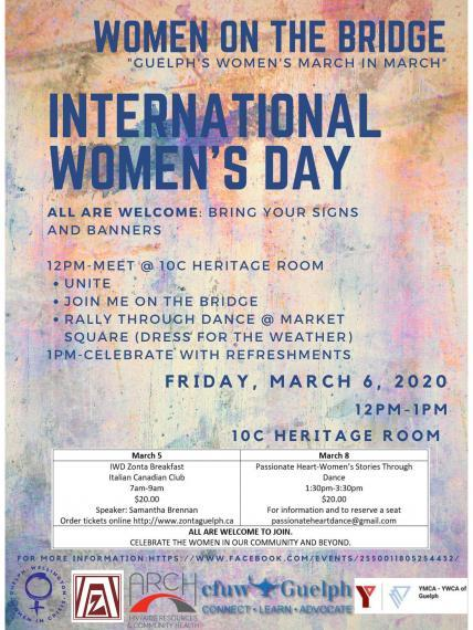 """Poster reading, """"Women on the Bridge - International Women's Day March"""" with additional details (details included in event description below)."""