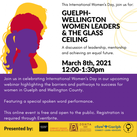 Event poster; displays event details and silhouettes of three women overlayed