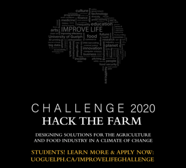 "The words ""Challenge 2020: Hack the Farm"" written on a black background."