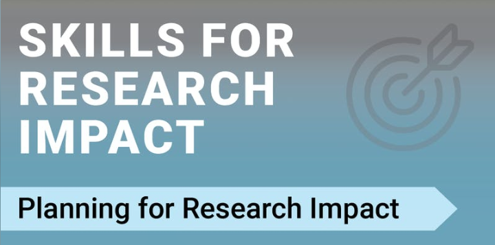"""Image reads the title of the event: """"Skills for Research Impact: Planning for Research Impact"""" on a blue background."""