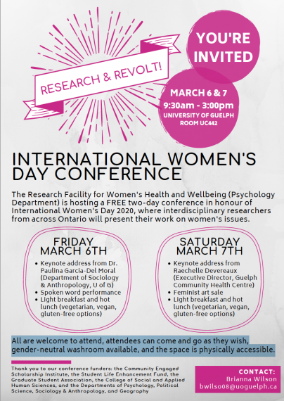 """Headline """"Research and Revolt: International Women's Day Conference,"""" followed by the text description of the event."""