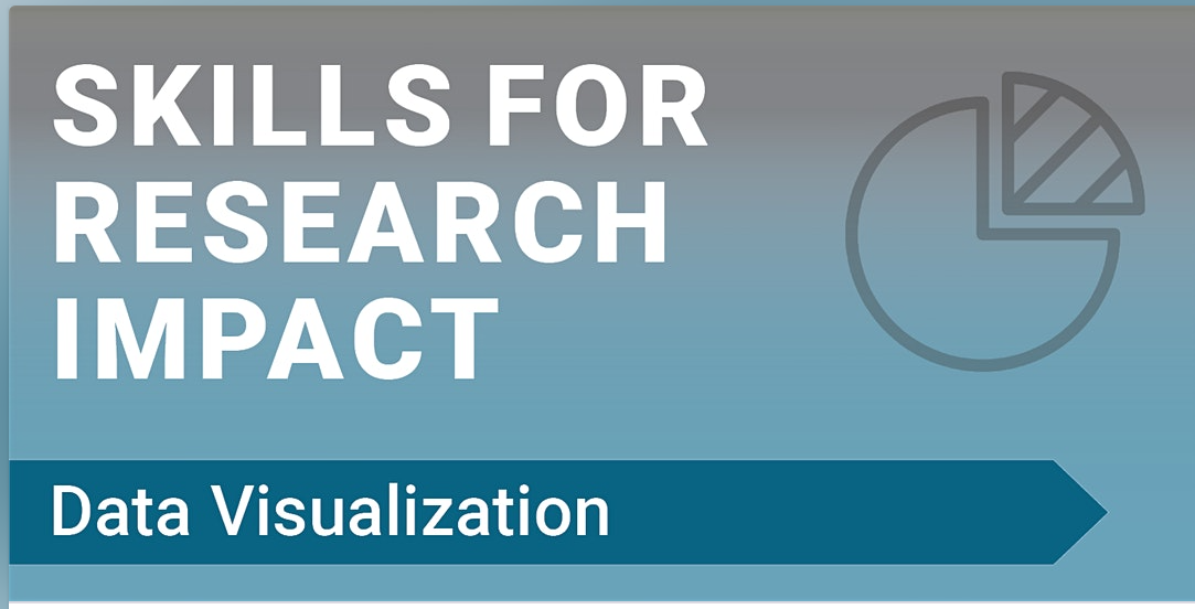 """The words, """"Skills for Research Impact: Data Visualization"""" on a blue background."""