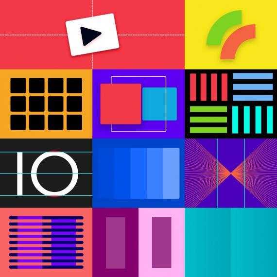 Eclectic image showing various geometric shapes of different colours.