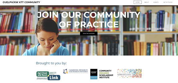 """Screenshot from the main page of the KTT CoP website, showing a woman reading in a library with the words """"Join our Community of Practice"""" as an overlay."""