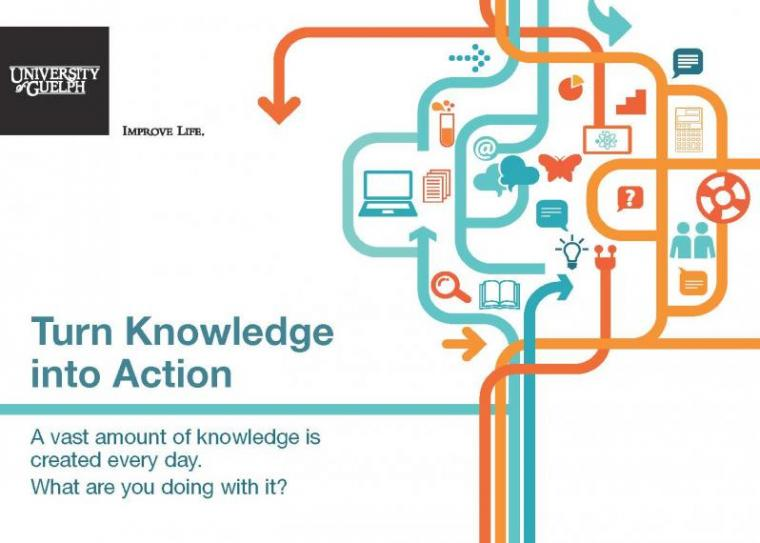 Postcard promoting the Certificate in Knowledge Mobilization. It reads: Turn Knowledge into Action.