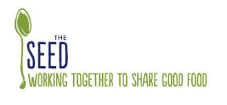 The SEED logo with text 'working together to share good food'