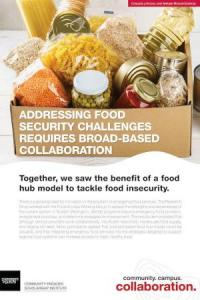 "Poster with a box of non-perishable food items and the title ""addressing food security challenges requires broad-based collaboration"""