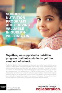 "Poster with a photo of a young child in a classroom with a paper cup and the title of ""school nutrition programs are proving valuable in Guelph-Wellington"""