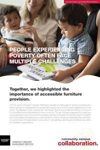 "Poster with a photo of two young children and two women and the title of ""people experiencing poverty often face multiple challenges"""