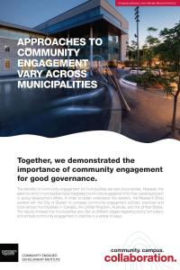 "Poster with a photo of Guelph City Hall and the title of ""approaches to community engagement vary across municipalities"""
