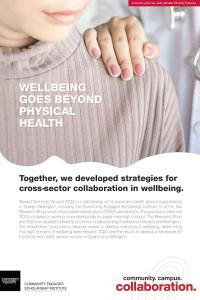 "Poster with a photo of a doctor placing their hand on a woman's shoulder and the title of ""wellbeing goes beyond physical health"""